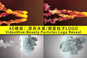 AE模板:漂亮水墨/烟雾粒子LOGO(VH-Beauty Particles Logo Reveal)