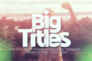 AE模版:复古炫光大标题图文展示 VideoHive Big Titles Slideshow Typography