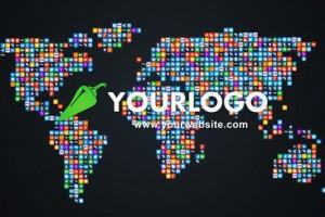 AE模版:众多LOGO图标汇聚世界地图动画  11430992 social world map