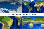 AE模板:三维世界地图立体挤出路径空间动画 3D Extrude World Map