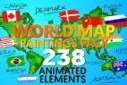 AE模版:4K分辨率世界地图素材手绘动画包(59个国家+238种动画)World Map Paintings Pack