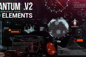 AE模版:高科技军事信息化动态UI元素包 Quantum HUD Infographic V2