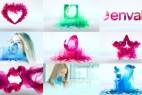 AE模板:6种彩色水墨粒子流动 LOGO 片头展示