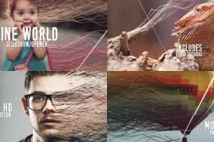 AE模板:创意抽象粒子线条图文切换展示 Line World Slideshow