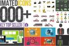 AE模板:1000个MG扁平化时尚网络生活商务Icon图标场景动画
