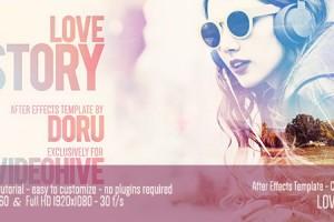 AE模板:浪漫爱情故事图文展示效果 Love Story