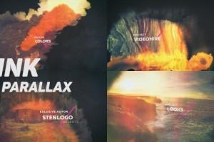 AE模板:中国风水墨晕开图文切换视觉效果展示 Ink Parallax Slideshow