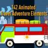 AE模板-旅游交通工具海滩露营滑雪潜水MG动画元素包 Animated Travel Adventure Elements