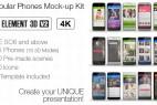AE模板-E3D三维手机iPhone/三星 APP展示介绍动画片头包装 Popular Phones Mock-up Kit 免费下载