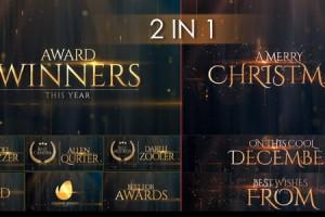 AE模板:金色粒子光效闪耀年会活动颁奖典礼文字大标题展示 Award Winners & Christmas Message