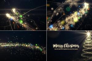 AE模板:漂亮线条粒子光束圣诞节片头 Christmas