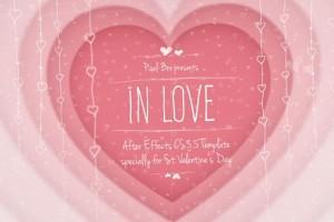 AE模板-浪漫婚礼爱情甜蜜回忆相册照片纪录片头包装(含音乐) In Love