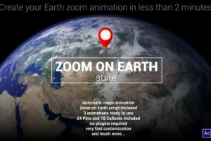 AE模板:太空冲击地球位置定位动画 Zoom On Earth Suite
