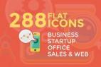 AE模板:288个炫彩扁平化MG图标动画 Business & Startup Flat Icons