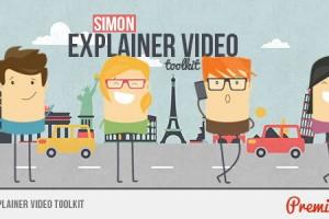 AE模板:多种动漫卡通人物场景解说动画 Simon Explainer Video Toolkit