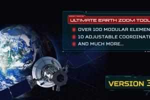 AE模版:超酷太空俯冲地球位置定点动画展示工具包Ultimate Earth Zoom Toolkit v3.3