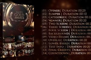 AE模板:金色大气年会活动晚会开场颁奖典礼栏目包装 Gold Awards