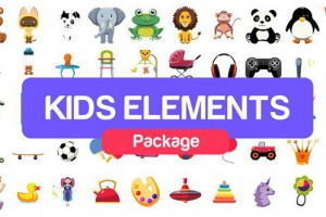AE模板-卡通可爱儿童日常生活图标元素MG动画 Kids Elements Package