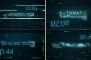 AE模板:科技感信号故障倒计时标题展示 Hi-Tech Glitches (Countdown and Titles)