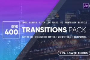 AE模板-400组图形遮罩摄像机推拉聚焦信号损坏光效水墨视频转场 Transitions
