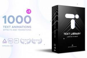AE脚本:1000种文字动画预设 Text Library V2 + 中文使用教程 Win/Mac