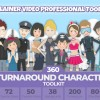 AE模板-360可旋转卡通人物男女小孩角色场景MG动画素材包 360 Turnaround Character Toolkit