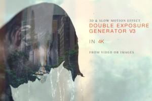 AE模板-摄像多重曝光图片视频叠加贴图纹理3D动画工具包V3 Double Exposure Generator