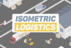 AE模板-三维等距扁平化物流快递运输MG动画场景 Isometric Logistics