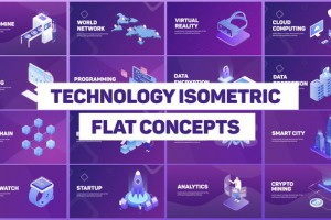 AE模板-扁平化等距概念科技感商品介绍动画片头Technology Isometric Concepts