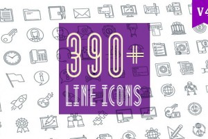 AE模板-390个线条风格Icons图标MG动画包 Line Icons Pack 390 Animated Icons