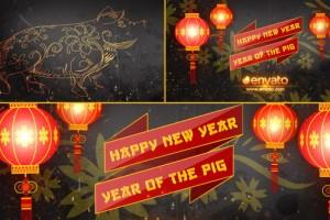AE模板:中国2019新春猪年喜庆灯笼片头Chinese New Year Opener 2019