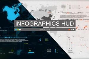 AE模板-科技感信息数据HUD动画简洁元素工具包  Infographics HUD set 3