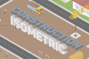 AE模板-三维等距扁平化工地建筑工人劳动MG动画场景元素 Construction Isometric