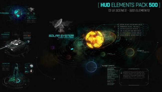 AE模板-500+科技感银河系雷达飞机军事屏幕HUD图形动画元素