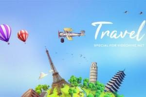 AE模板-时尚卡通环球旅游展示片头 Travel
