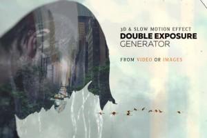 AE模板-画面多重曝光叠加图文展示效果生成工具包Double Exposure Generator V4