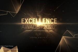 AE模板-精品大气金色粒子扫光文字标题颁奖典礼开场片头 Excellence Awards Opener