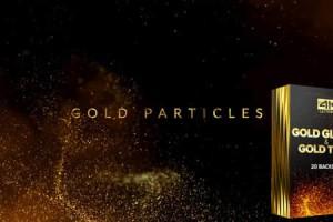 AE模板-大气金色粒子背景颁奖文字标题宣传片头+音乐