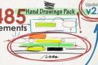 AE模板-485个手绘粉笔箭头路径圆圈数字图形动画+带通道视频素材