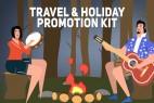 AE模板-扁平化卡通旅游假期人物场景MG动画图标元素片头