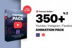 AE脚本模板-350+网络视频文字标题字幕条转场背景图形动画预设V2