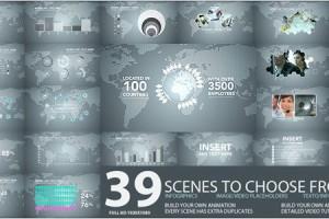 AE模版:公司企业数据报表图文展示包装合集包 Corporate Tech Pack
