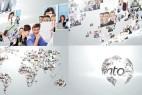 AE模版:众多图片汇聚地球LOGO展示 Multi Video Corporate World Logo Revealer