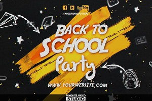 AE模板:校园黑板粉笔涂鸦动画图文包装展示 Back 2 School Event