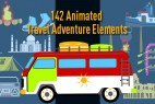 AE模板-旅游交通工具海滩露营滑雪潜水MG动画元素包 Animated Travel Adventure Elements