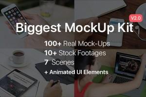 AE模板-实拍场景手机电脑屏幕绿幕抠像合成素材工具包 Biggest MockUp Kit-Digital Device Mockups