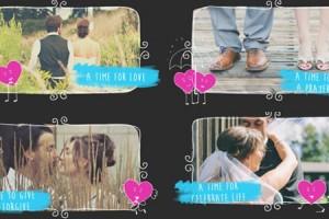 AE模板:甜蜜爱人俏皮卡通图像包装展示 Valentine Love Slideshow