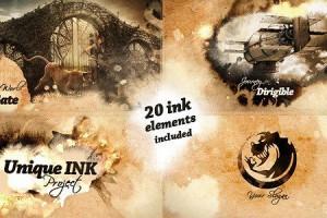 AE模板:复古中国风水墨散开遮罩图文展示动画 Unique Ink