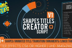 AE脚本+模板:350种MG精品动画文字标题LOGO字幕条图形元素包(含使用教程)
