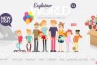 AE模板-时尚清新扁平化卡通人物角色场景图标MG动画工具包  Explainer World Video Toolkit Library